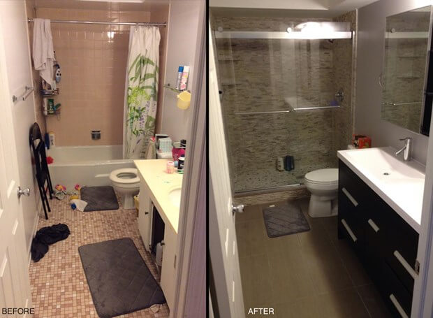 My small bathroom remodel recap costs designs more for Before and after small bathroom makeovers