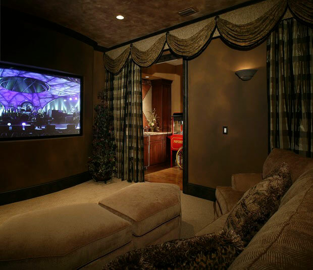 Curtains Ideas cover walls with curtains : 5 Must-Haves For Creating the Ultimate Basement Home Theater