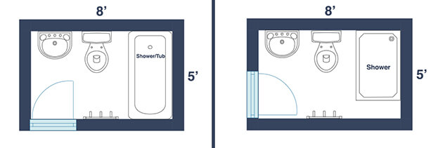 Curtains Ideas common curtain sizes : 7 Awesome Layouts That Will Make Your Small Bathroom More Usable