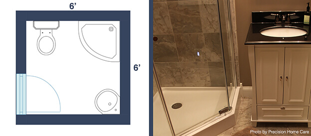 7 awesome layouts that will make your small bathroom more for Small bathroom ideas 6x6