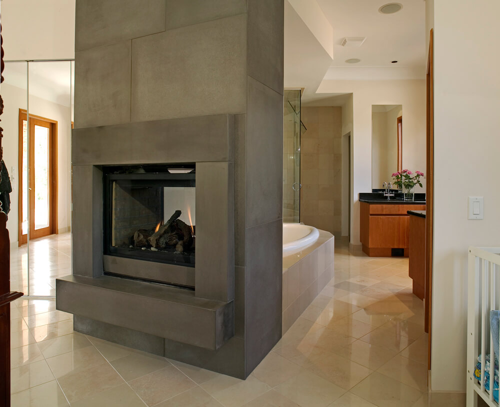 Luxury Bathroom Fireplace