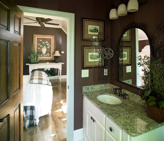 small bathroom dark paint