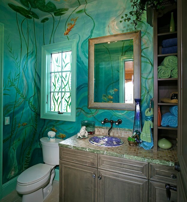 Small Bathroom Bold Colors