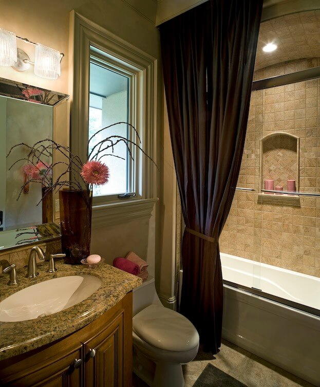 small bathroom arched ceilings