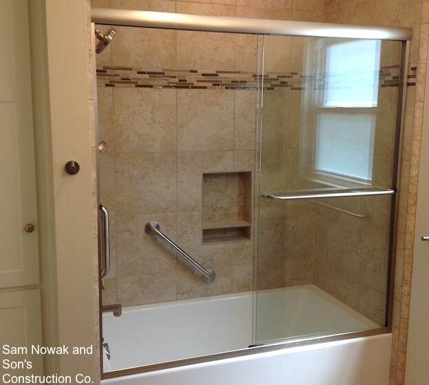 angled grab bar bathroom