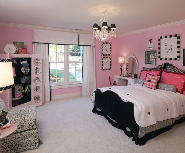 Black White and Pink Girls Room