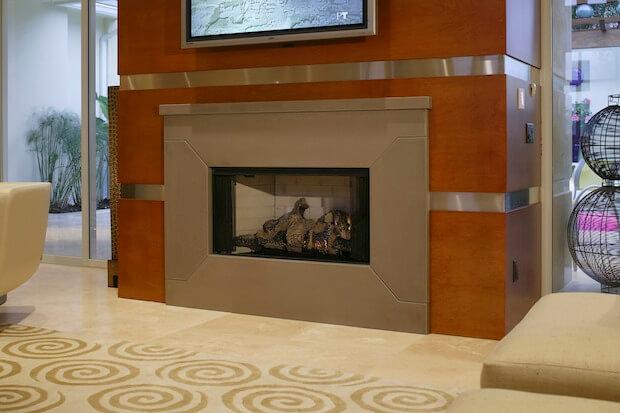 Limestone Tile Fireplace Design Idea