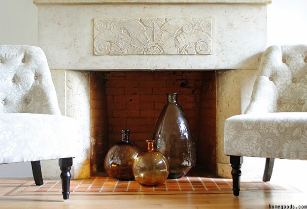 Vases In Fireplace