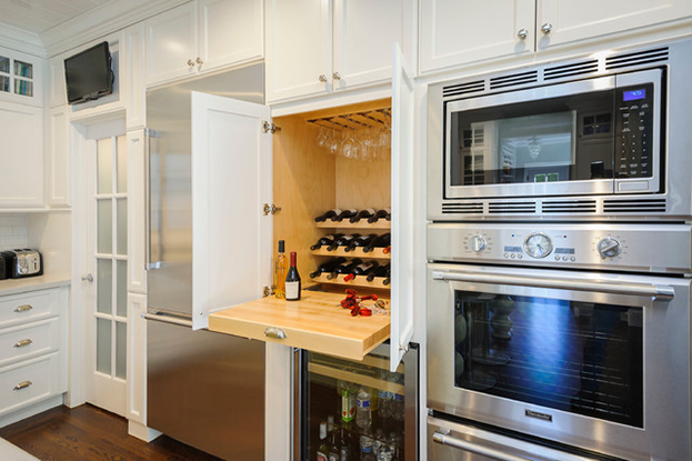 kitchen storage trends - hidden wine bar