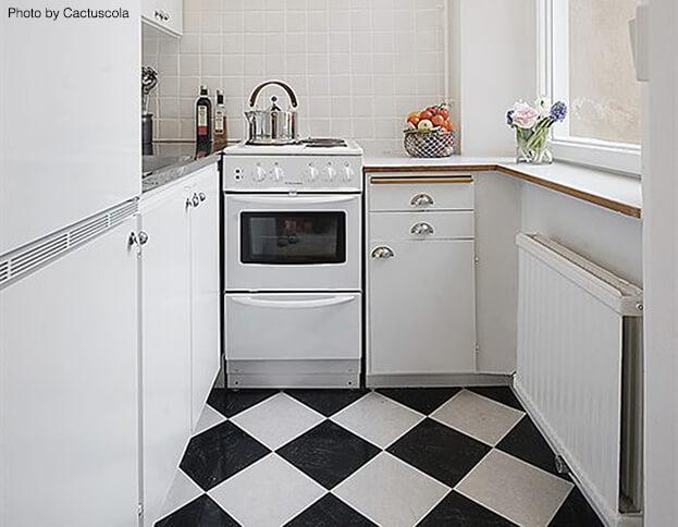 Diagonal Small Kitchen Flooring