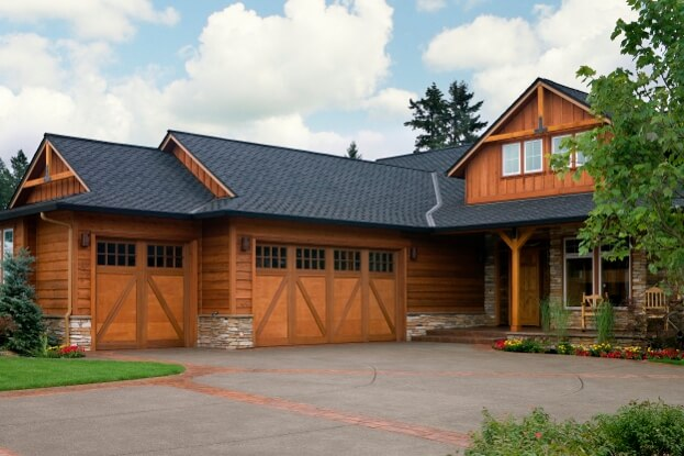Dark Roof On Wooden House