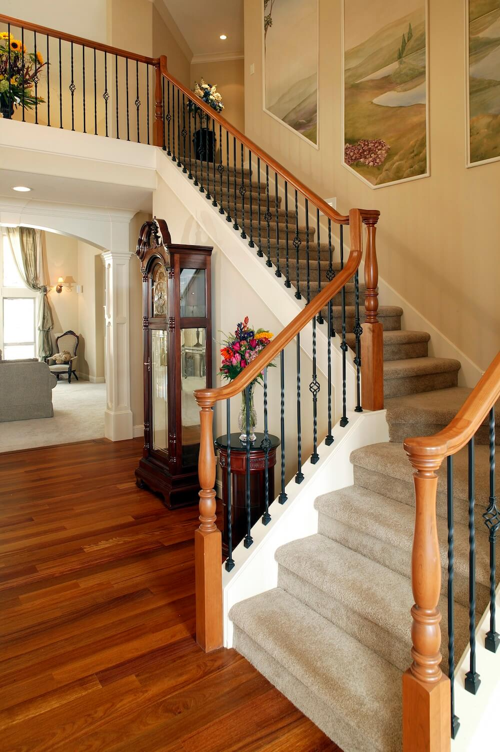2017 staircase cost cost to build railings handrails - Average cost to have interior house painted ...