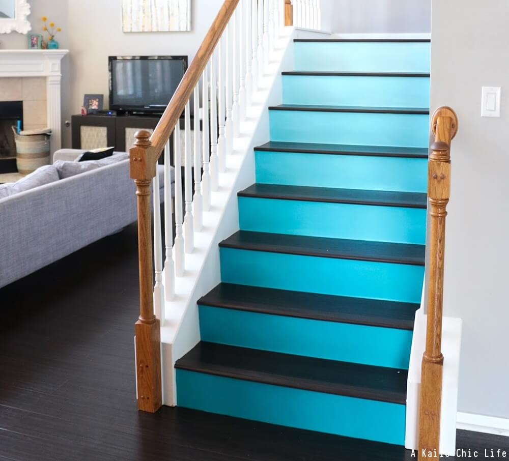 Stair riser ideas decorative stair risers stair risers for Painted stair treads